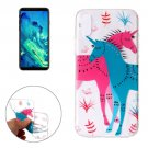 For iPhone X Red and Blue Unicorn Pattern TPU Protective Case