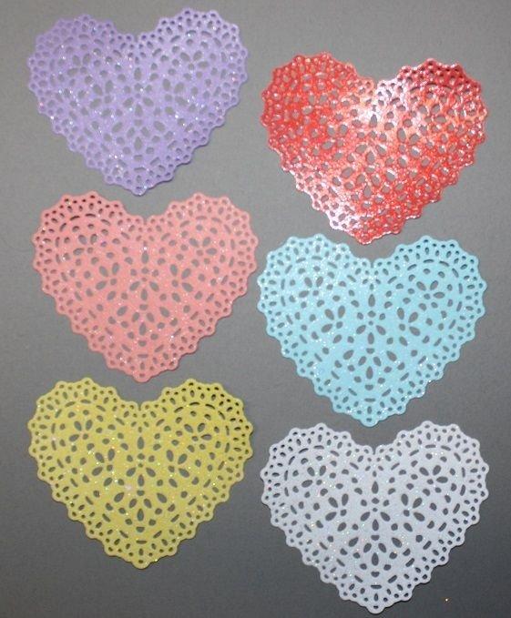 6 Ornate Glitter Hears/ Die Cuts/Scrapbooking/Embellishments/Paper Cuts/Quick Kutz