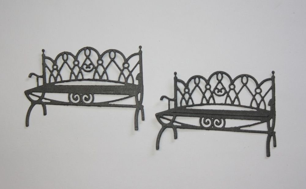 Set Of 2 Garden Bench/Die Cuts/Spellbinders/Embellishments/Scrapbooking/Card Making/Spellbinders
