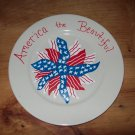 THE * AMERICA THE BEAUTIFUL FLAG PLATE * HAND DECORATED
