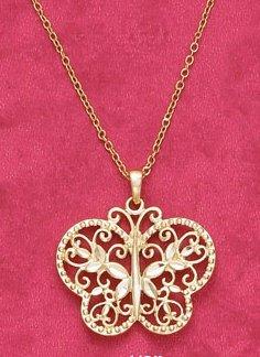 18k Vermeil Diamond Cut Butterfly Necklace