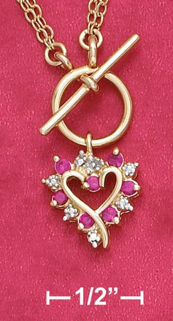 Vermeil Toggle Necklace with Syn. Ruby Heart