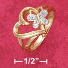 18K Vermeil Ring w/Heart and Butterfly with Diamond Chips
