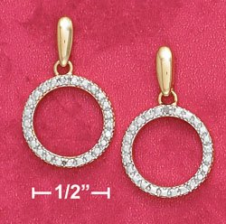18K Vermeil Dangle Circle Earrings w/Diamond Chips
