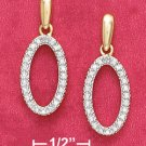 18K Vermeil Ovsl Illusion Earrings w/ Diamond Chips