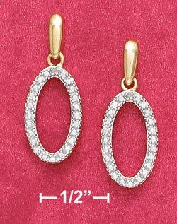 18K Vermeil Ovsl Illusion Earrings w/ Diamond Chips