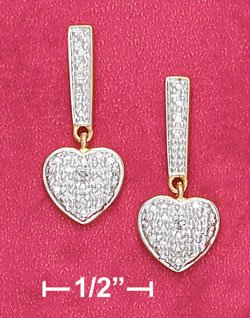 18K Vermeil Illusion Bar and Heart Earrings w/ Diamond Chips