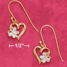 18K Vermeil Heart and Butterfly Earrings w/ Diamond Accent