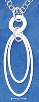 """STERLING SILVER ITALIAN 16"""" CIRCLE CHAIN WITH OPEN OVAL WITHIN OVAL NECKLACE"""