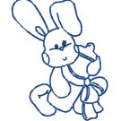 50 % off SALE - Bunny Rabbit w/Baby Bottle Blue Work Embroidery File