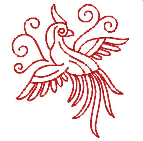 Pea Cock Red Work Embroidery File