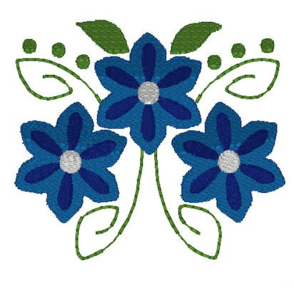 Blue Swirl Stem Flowers Embroidery File