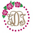 Monogram Roses with Dots Frame