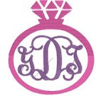 Monogram Diamond Ring Frame Embroidery File