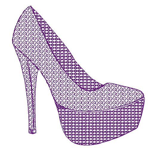 Motif Filled High Heel Shoe Embroidery File