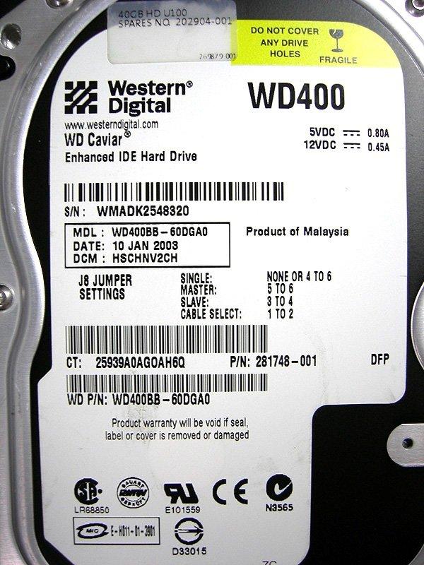 Western Digital WD400BB 40GB IDE Hard Drive #8320
