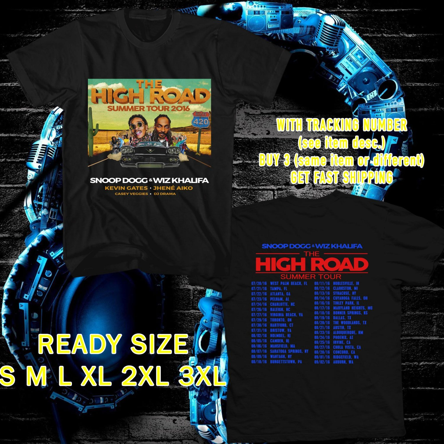 WOW SNOOP DOG AND WIZ KHALIFA HIGHROAD TOUR 2016 BLACK TEE S-3XL ASTR