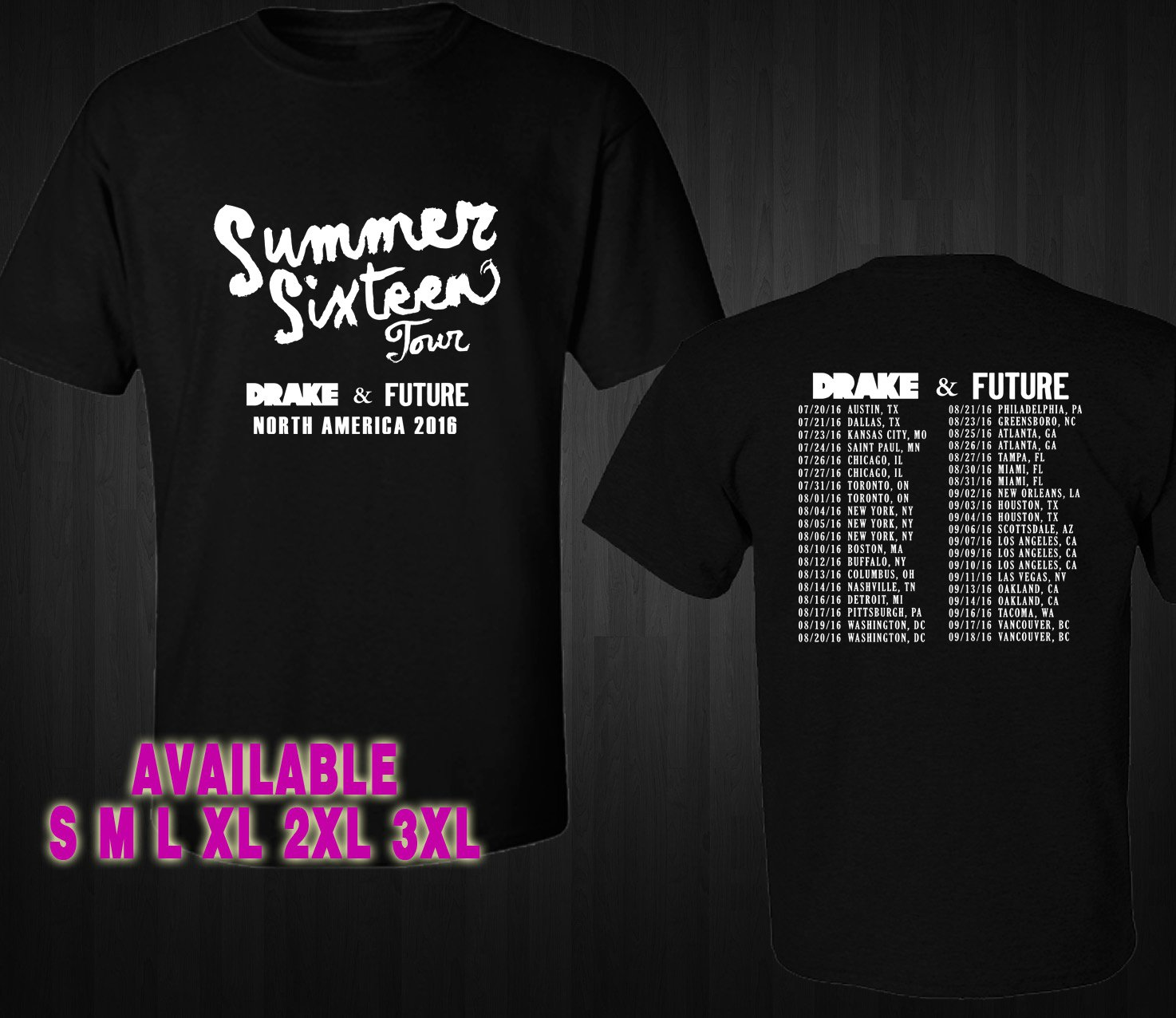 WOW DRAKE SUMMER SIXTEEN TOUR 2016 BLACK TEE S-3XL ASTR