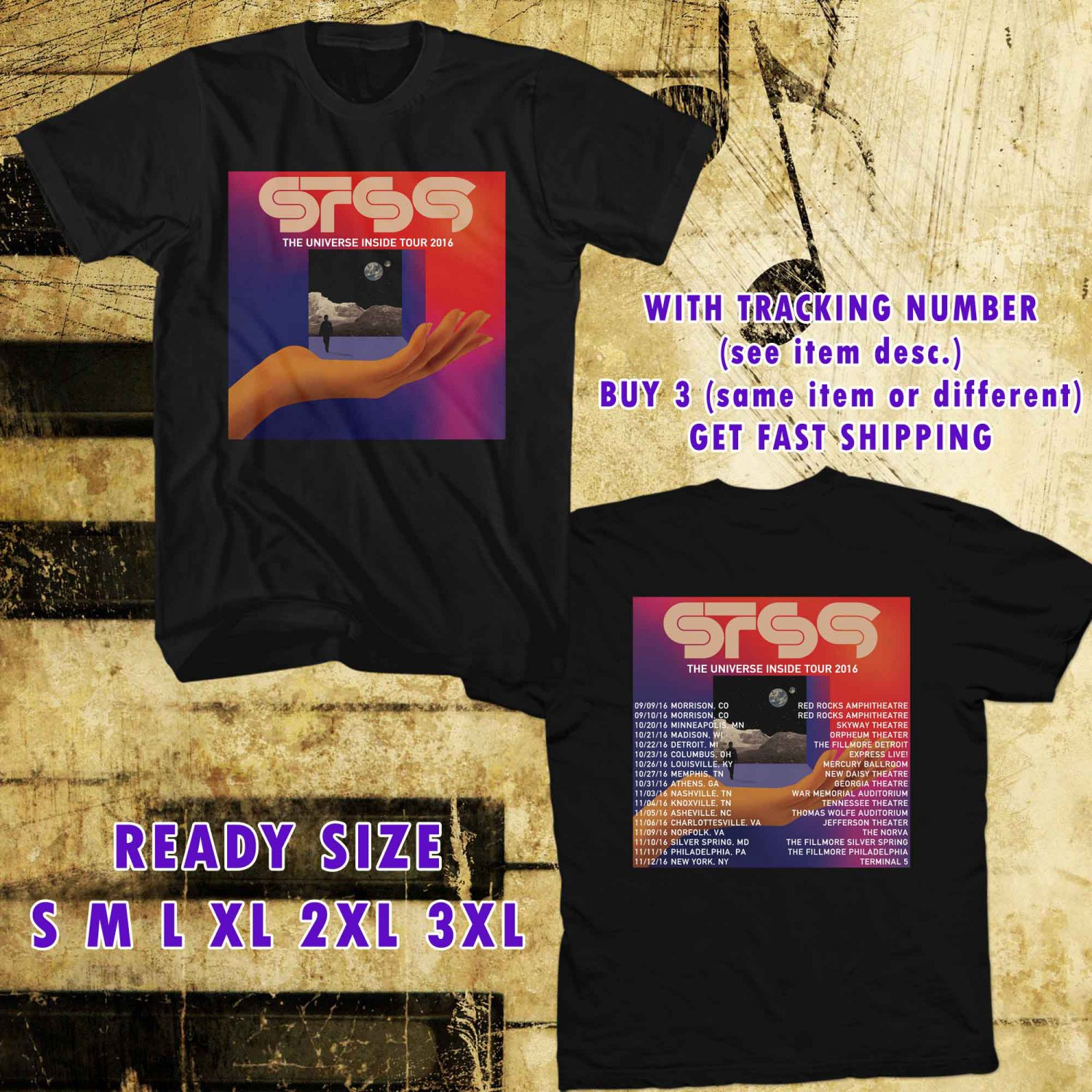 WOW STS9 THE UNIVERSE INSIDE TOUR 2016 BLACK TEE S-3XL ASTR 553