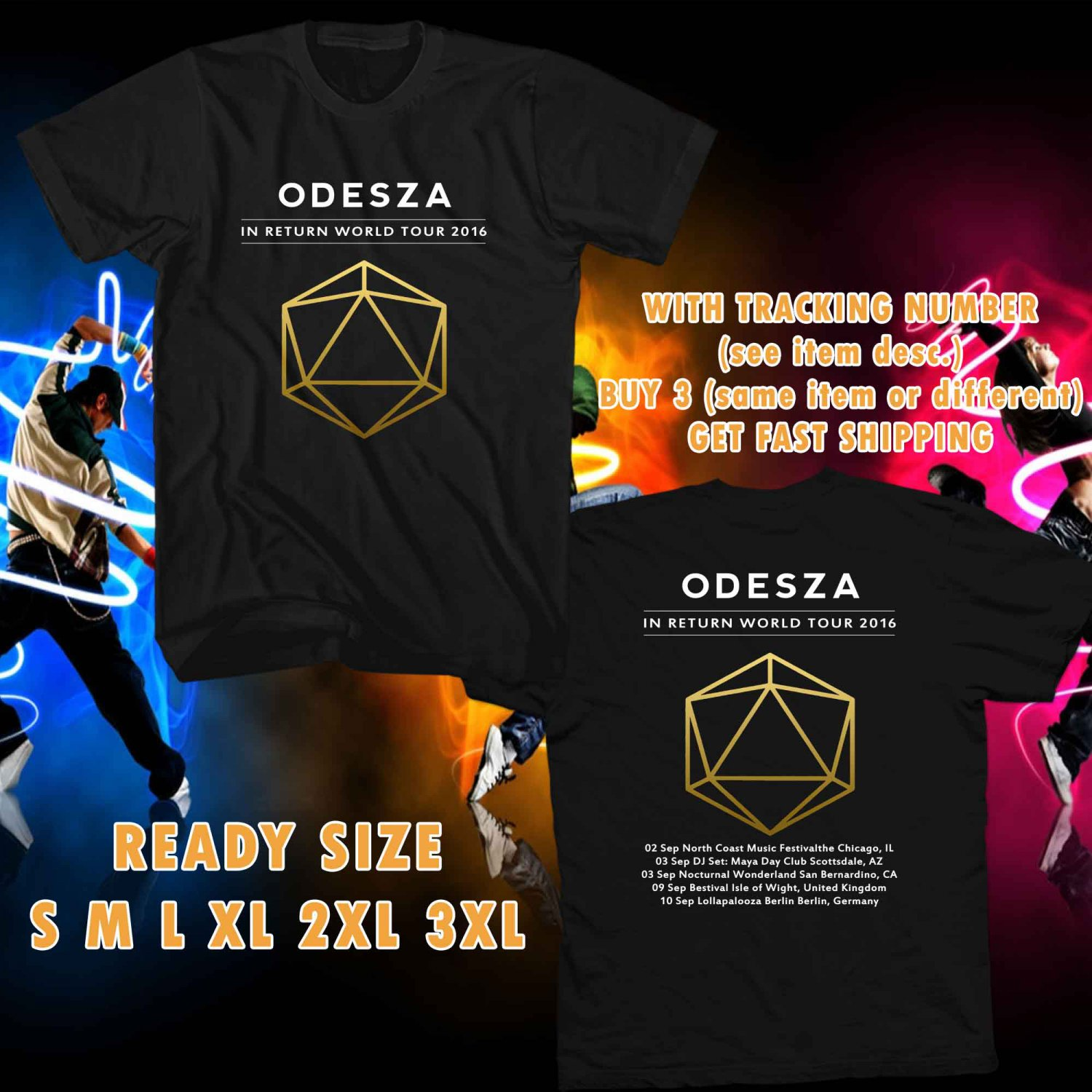WOW ODESZA IN RETURN TOUR 2016 BLACK TEE S-3XL ASTR