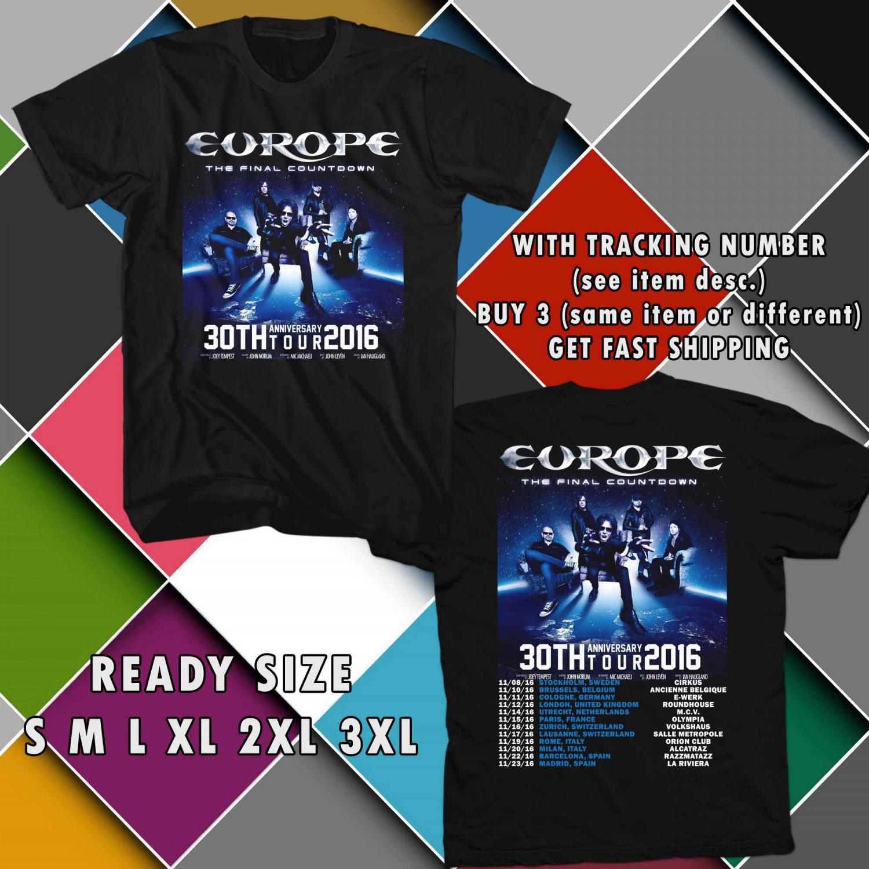 WOW EUROPE 30TH ANNIV TOUR 2016 THE FINAL COUNTDOWN BLACK TEE S-3XL ASTR