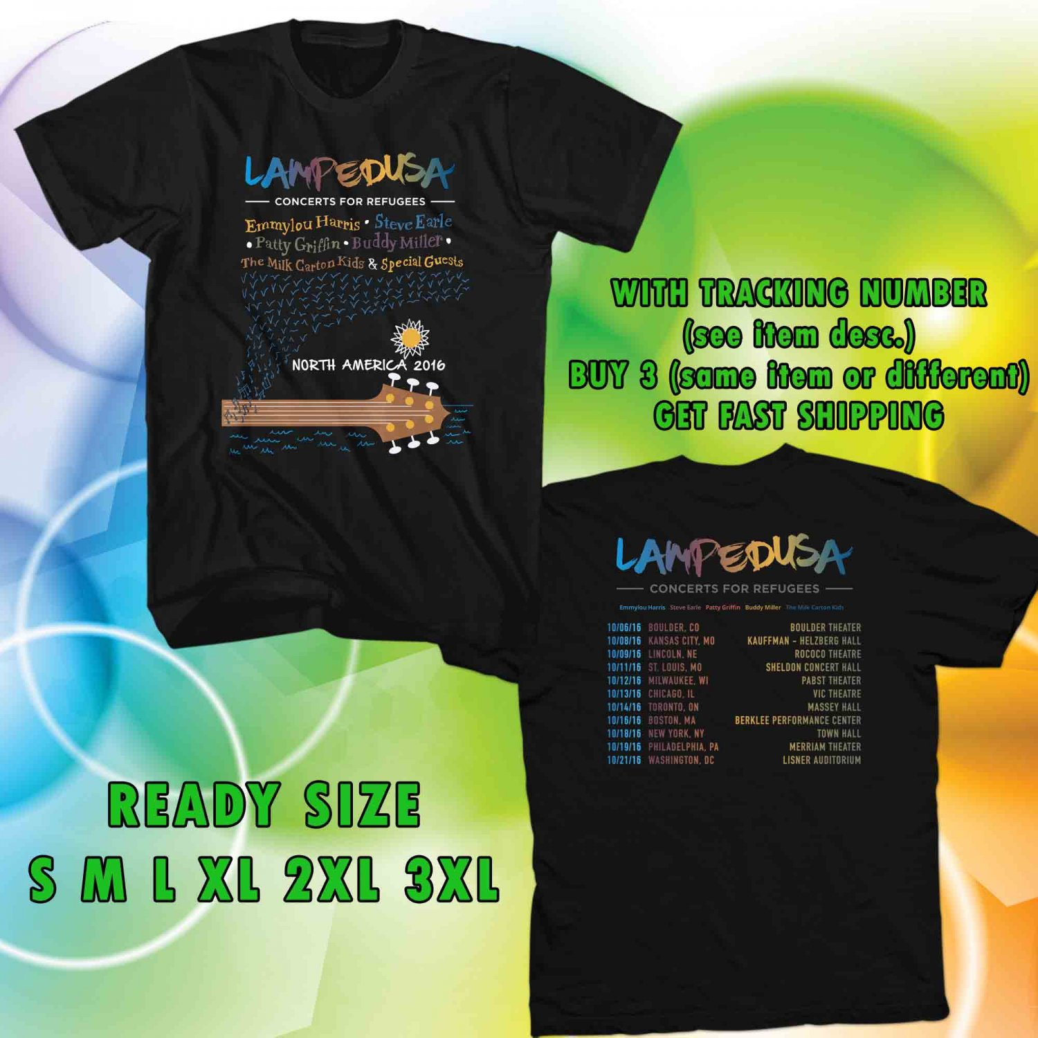 WOW LAMPEDUSA CONCERT FOR REFUGEES TOUR 2016 BLACK TEE S-3XL ASTR