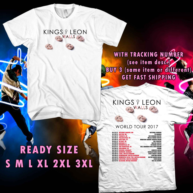 WOW NEW ALBUM WALLS FROM KING OF LEON TOUR 2017 WHITE TEE S-3XL ASTR 165