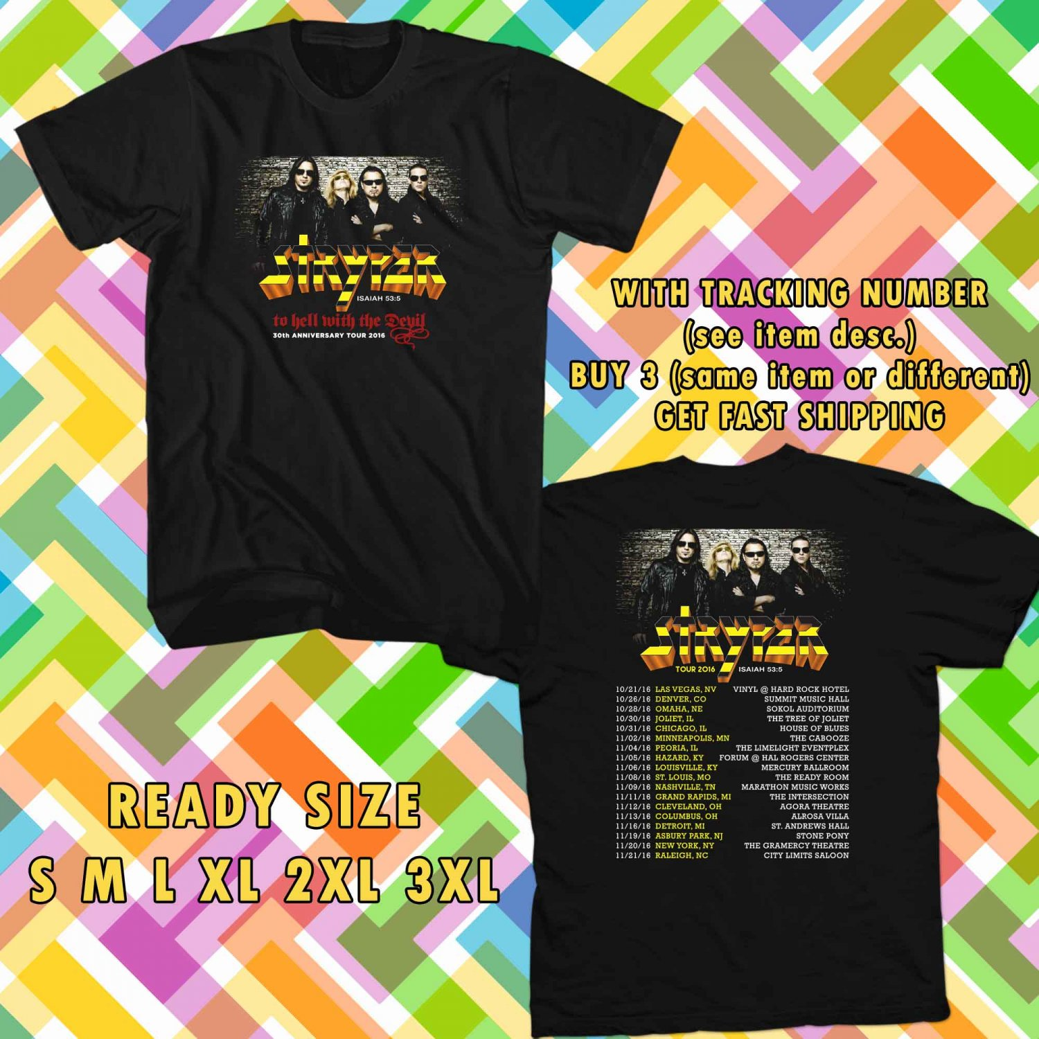 WOW 30TH ANNIVERSARY FROM STRYPER TOUR 2016 BLACK TEE S-3XL ASTR 125