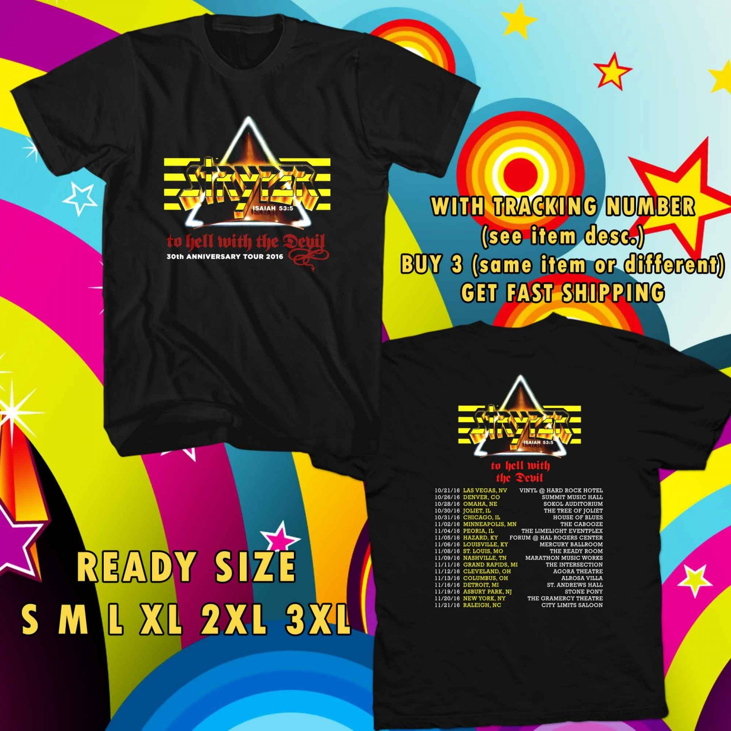 WOW 30TH ANNIVERSARY FROM STRYPER TOUR 2016 BLACK TEE S-3XL ASTR