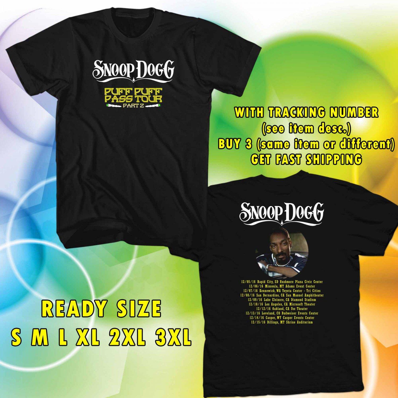 WOW SNOOP DOG PUFF PUFF PART 2 TOUR 2016 BLACK TEE S-3XL ASTR