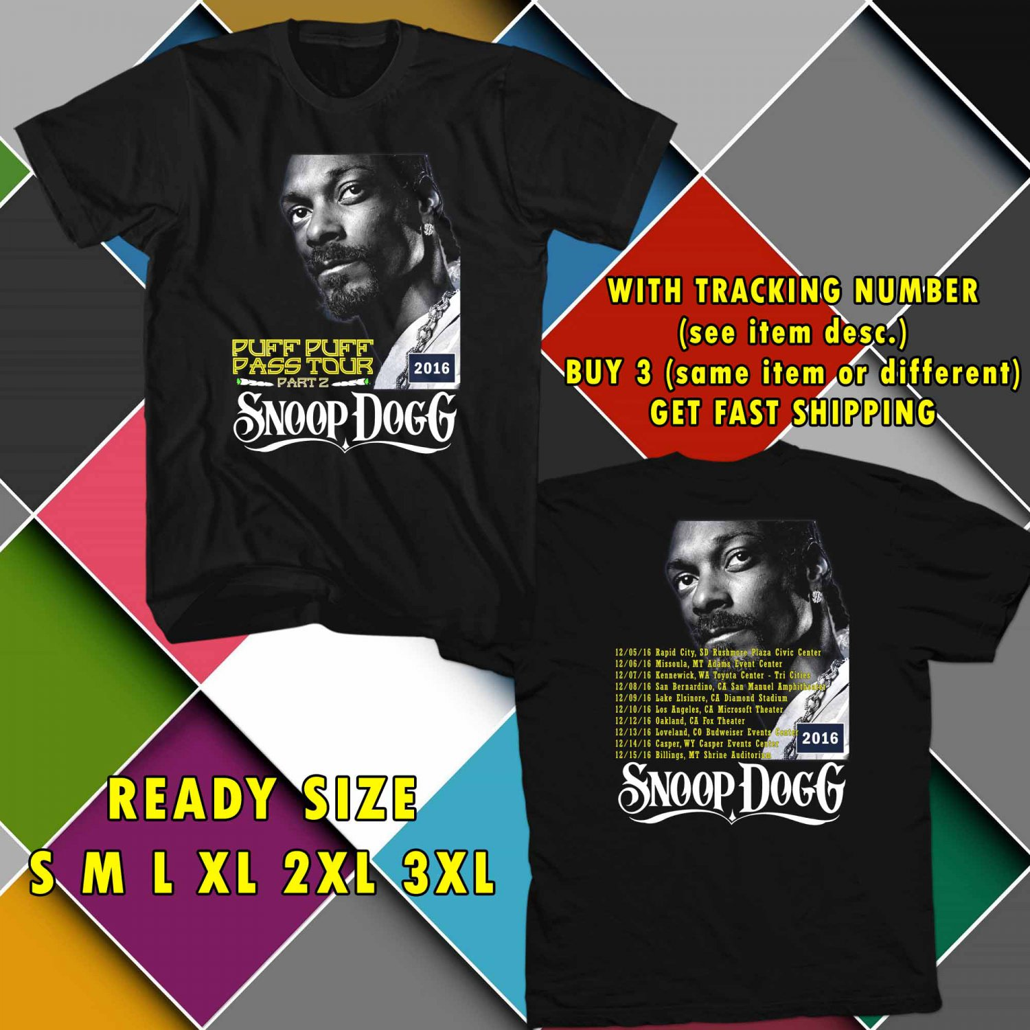 WOW SNOOP DOG PUFF PUFF PART 2 TOUR 2016 BLACK TEE S-3XL ASTR 154