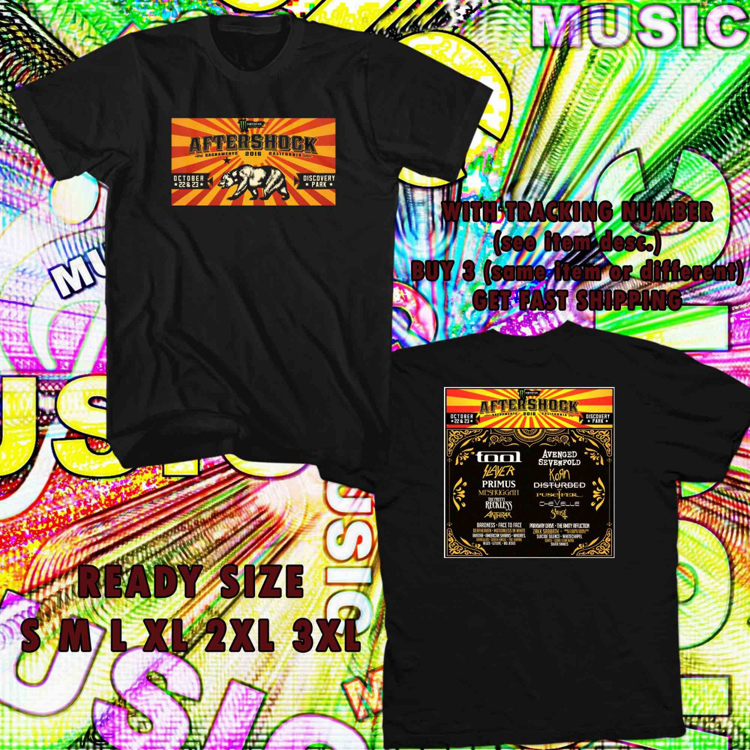 WOW AFTERSHOCK FESTIVAL TOUR OCT,2016 BLACK TEE S-3XL ASTR
