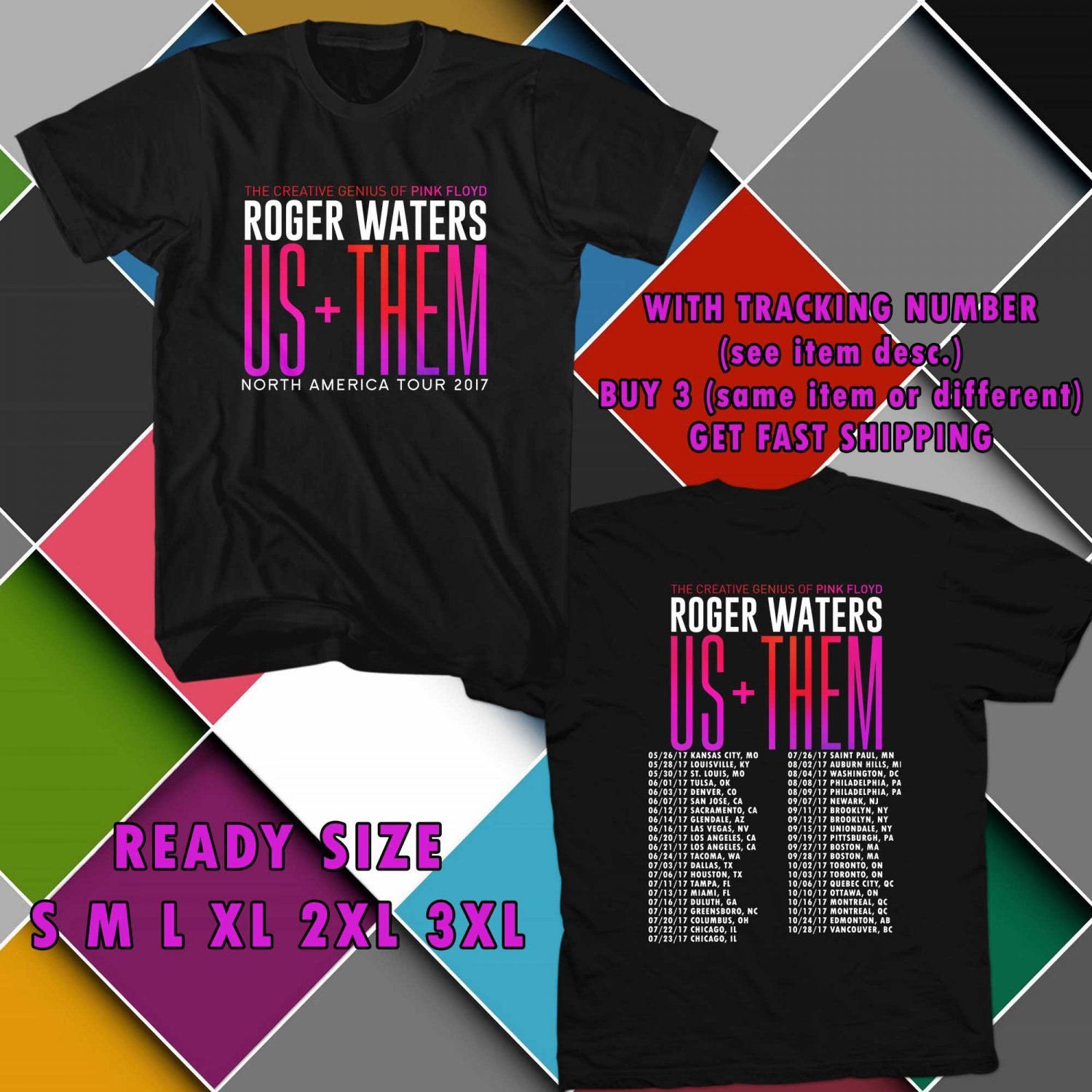 WOW ROGER WATERS US+THEM TOUR 2017 BLACK TEE S-3XL ASTR