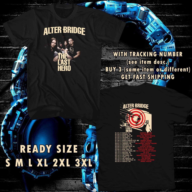 WOW THE LAST HERO FROM ALTER BRIDGE TOUR 2017 BLACK TEE S-3XL ASTR