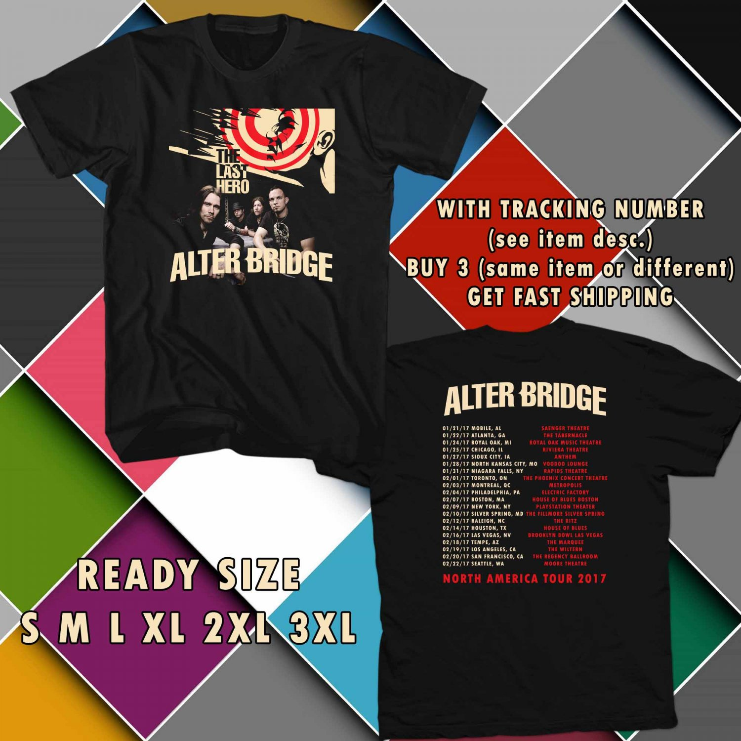 WOW THE LAST HERO FROM ALTER BRIDGE TOUR 2017 BLACK TEE S-3XL ASTR 556