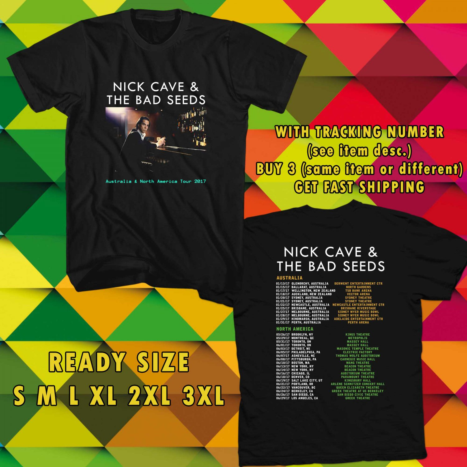 WOW NICK CAVE AND THE BAD SEED TOUR 2017 BLACK TEE S-3XL ASTR 322