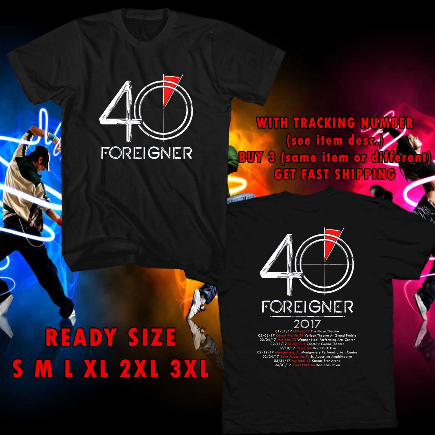 WOW FOREIGNER IN CONCERT TOUR 2017 BLACK TEE S-3XL ASTR 252