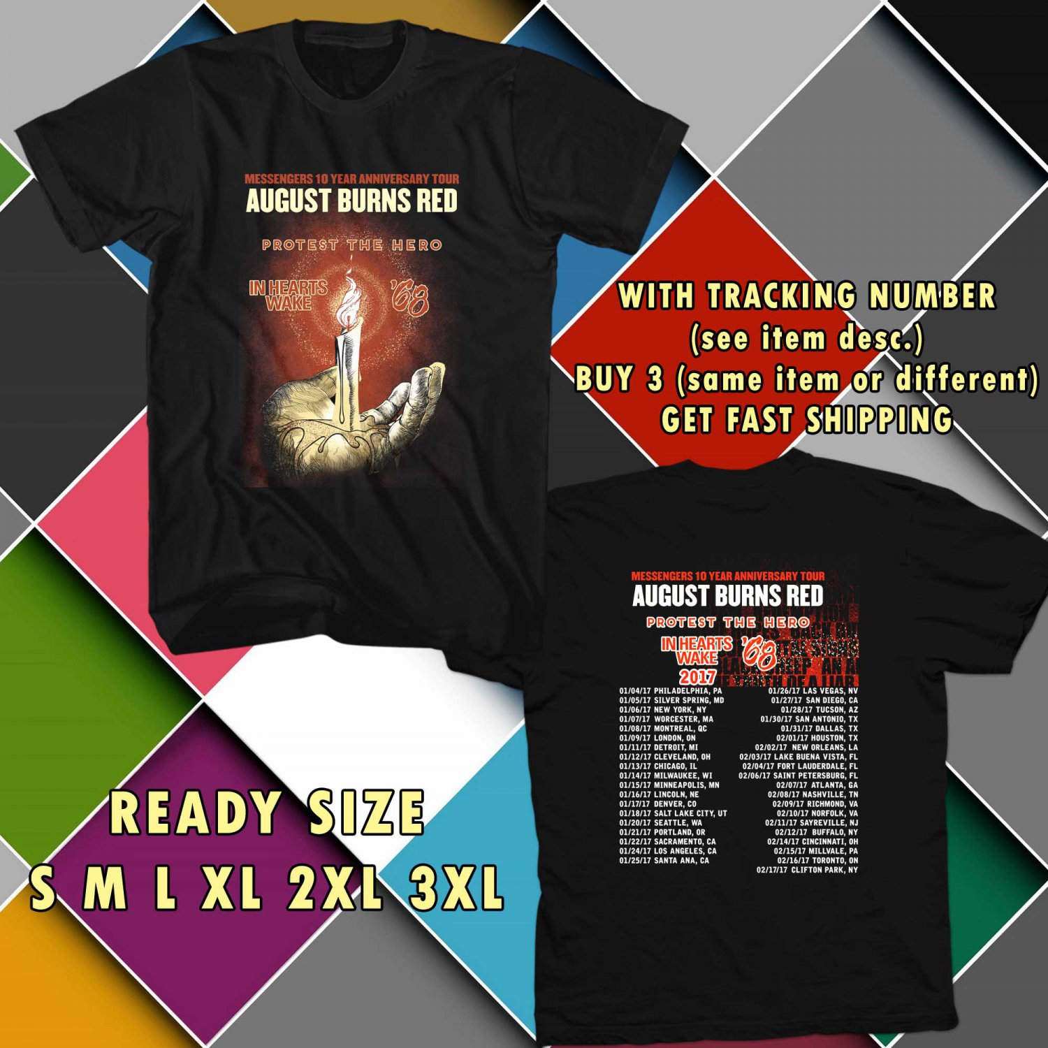 WOW AUGUST BURNS RED MESSENGERS 1O YEAR TOUR 2017 BLACK TEE S-3XL ASTR