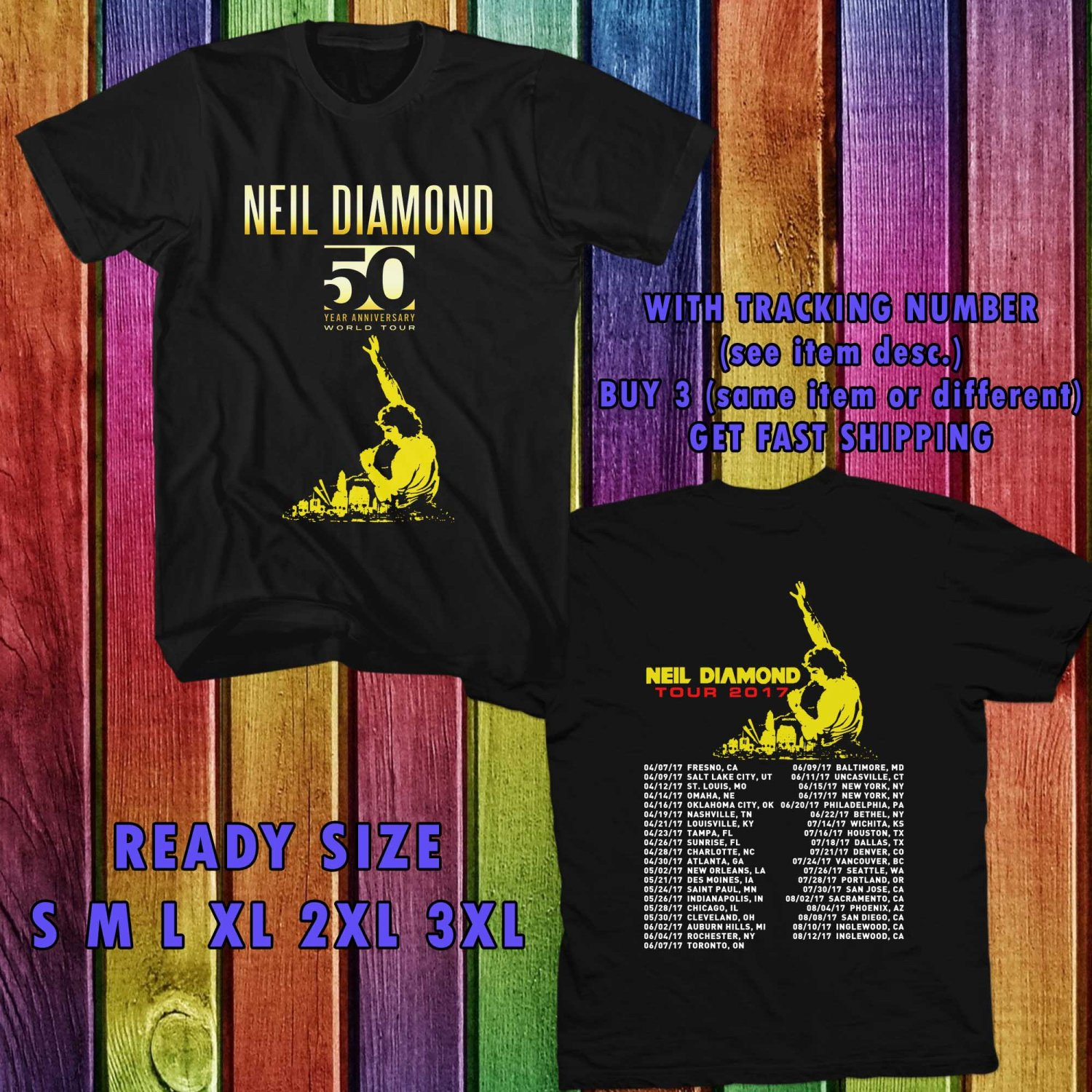 WOW NEIL DIAMOND 50 YEARS TOUR 2017 BLACK TEE S-3XL ASTR 954