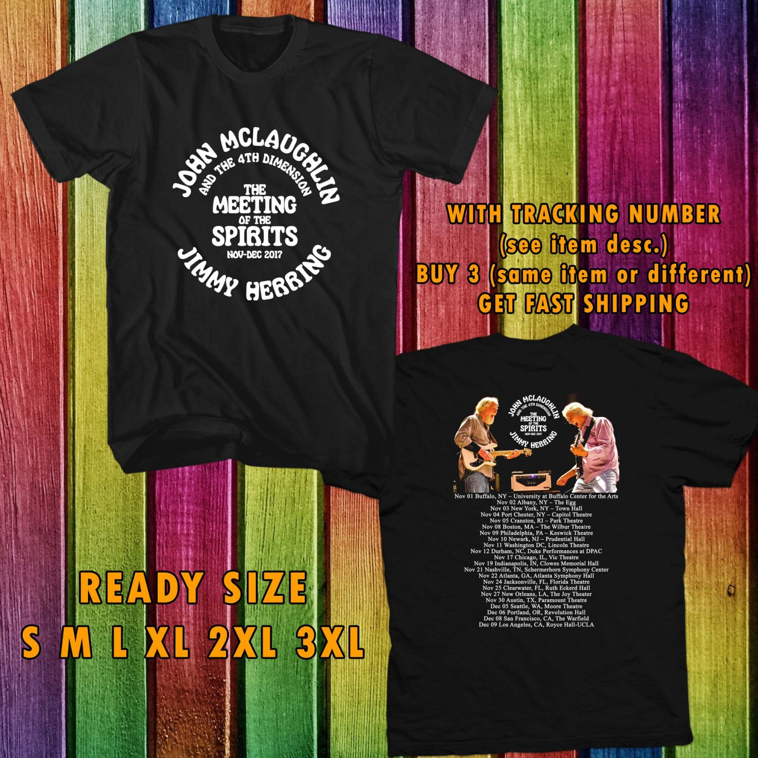 WOW JOHN MCLAUGLIN AND JIMMY HERRING THE MEETING OF SPIRITS TOUR 2017 BLACK TEE S-3XL ASTR 436