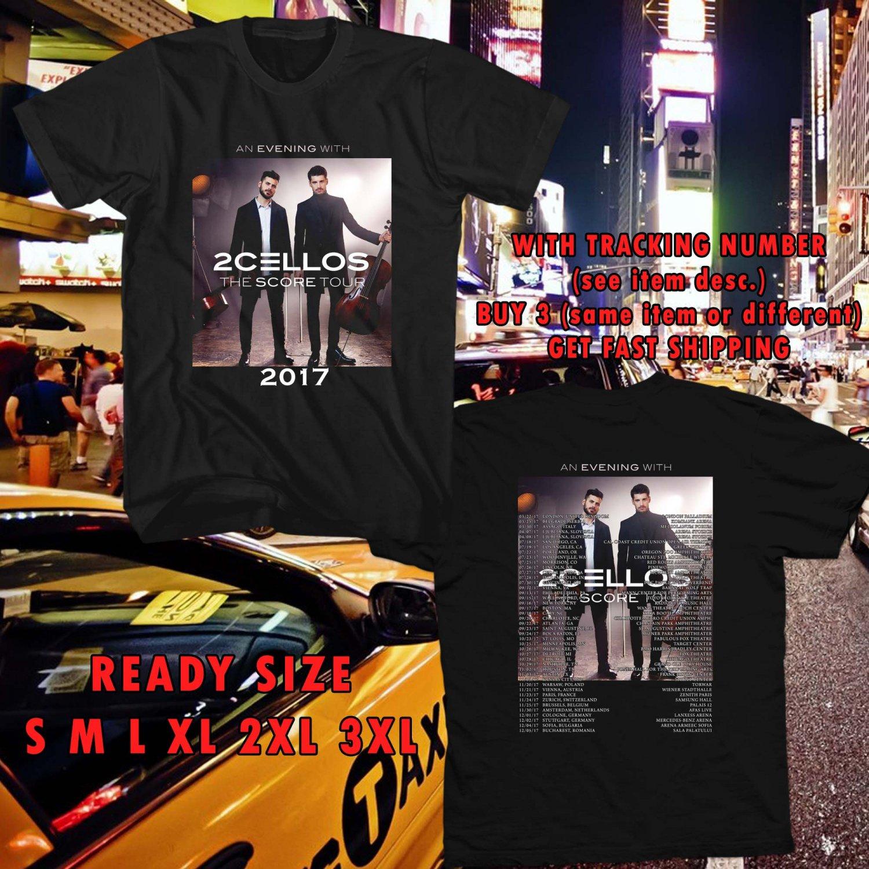 WOW 2CELLOS THE SCORE WORLD TOUR 2017 BLACK TEE S-3XL ASTR