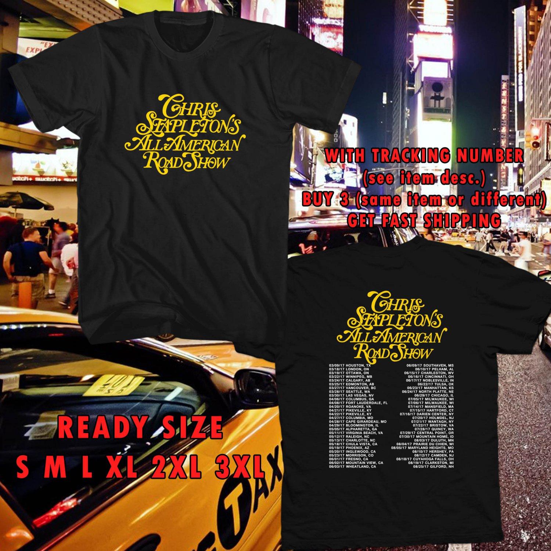 WOW CHRIS STAPLETON ALL AMERICAN ROADSHOW TOUR 2017 BLACK TEE S-3XL ASTR 665