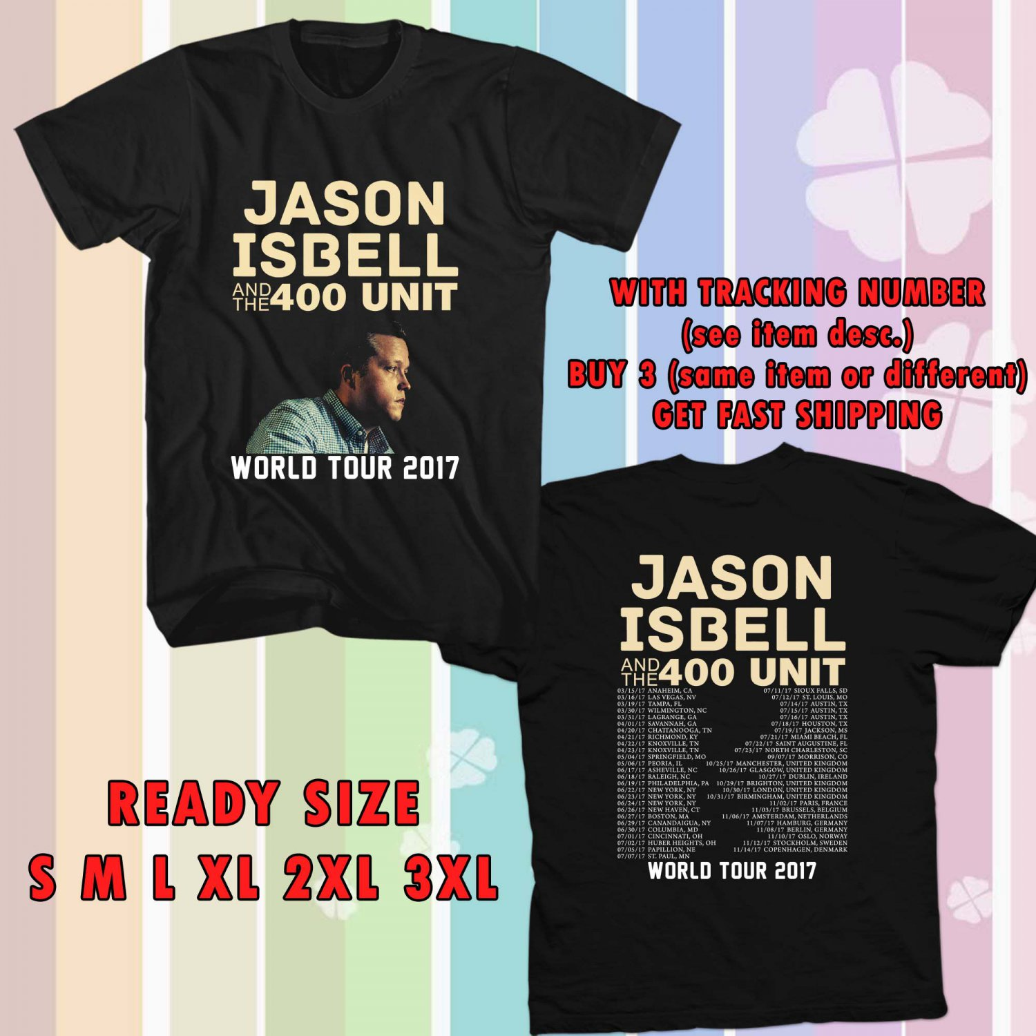 WOW JASON ISBELL TOUR 2017 BLACK TEE S-3XL ASTR 339