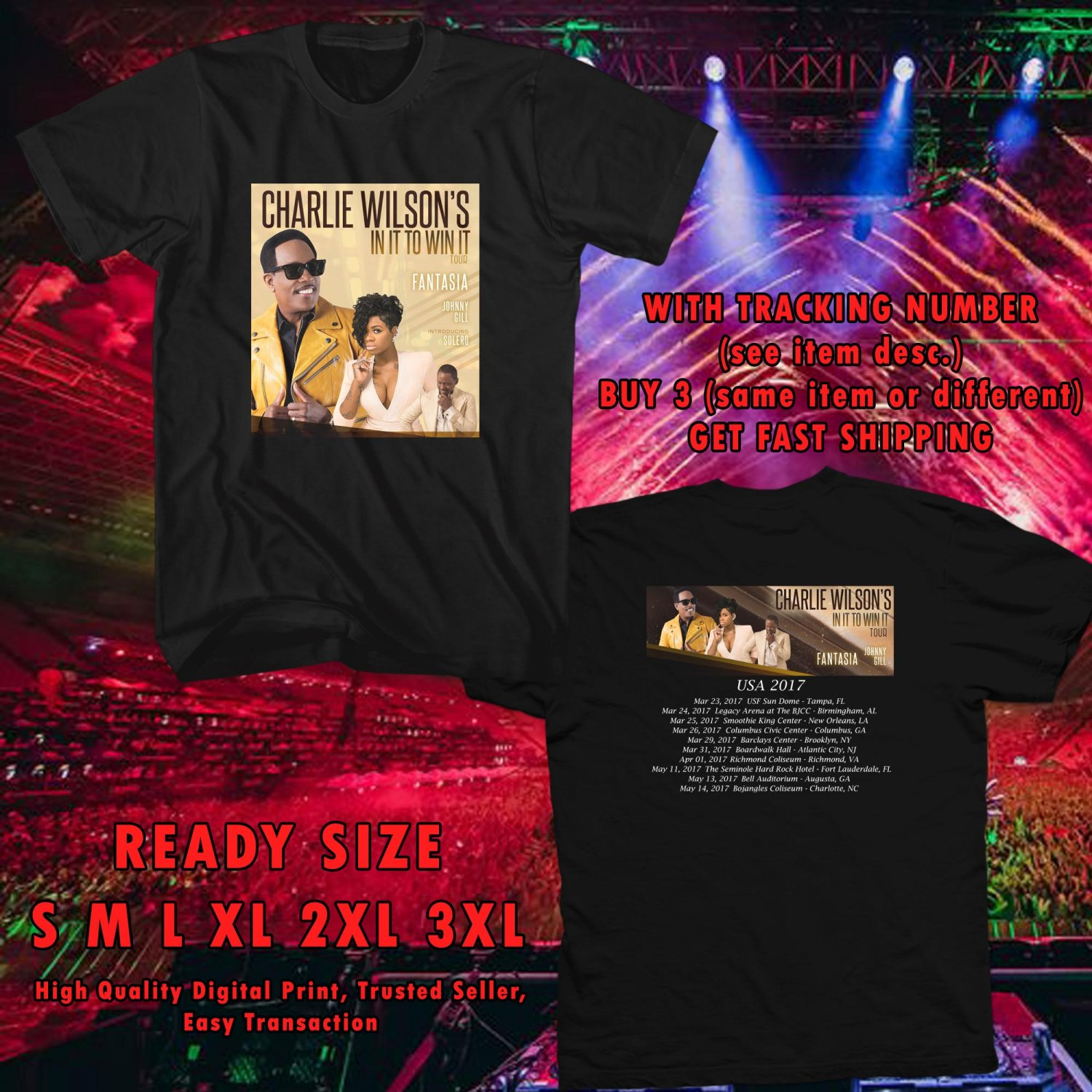 NEW CHARLIE WILSON IN IT TO WIN IT TOUR 2017 black TEE W DATES DMTR 221