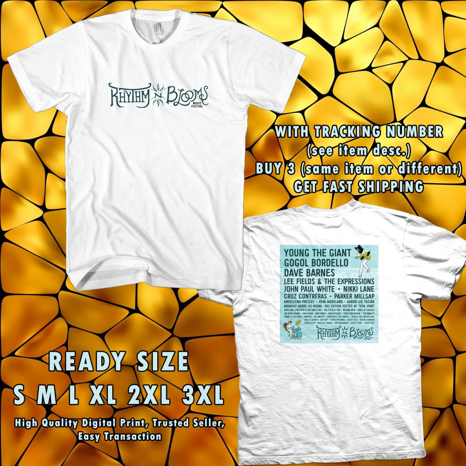 NEW RHYTHM AND BLOOMS FETIVAL APR 2017 WHITE TEE W DATES DMTR