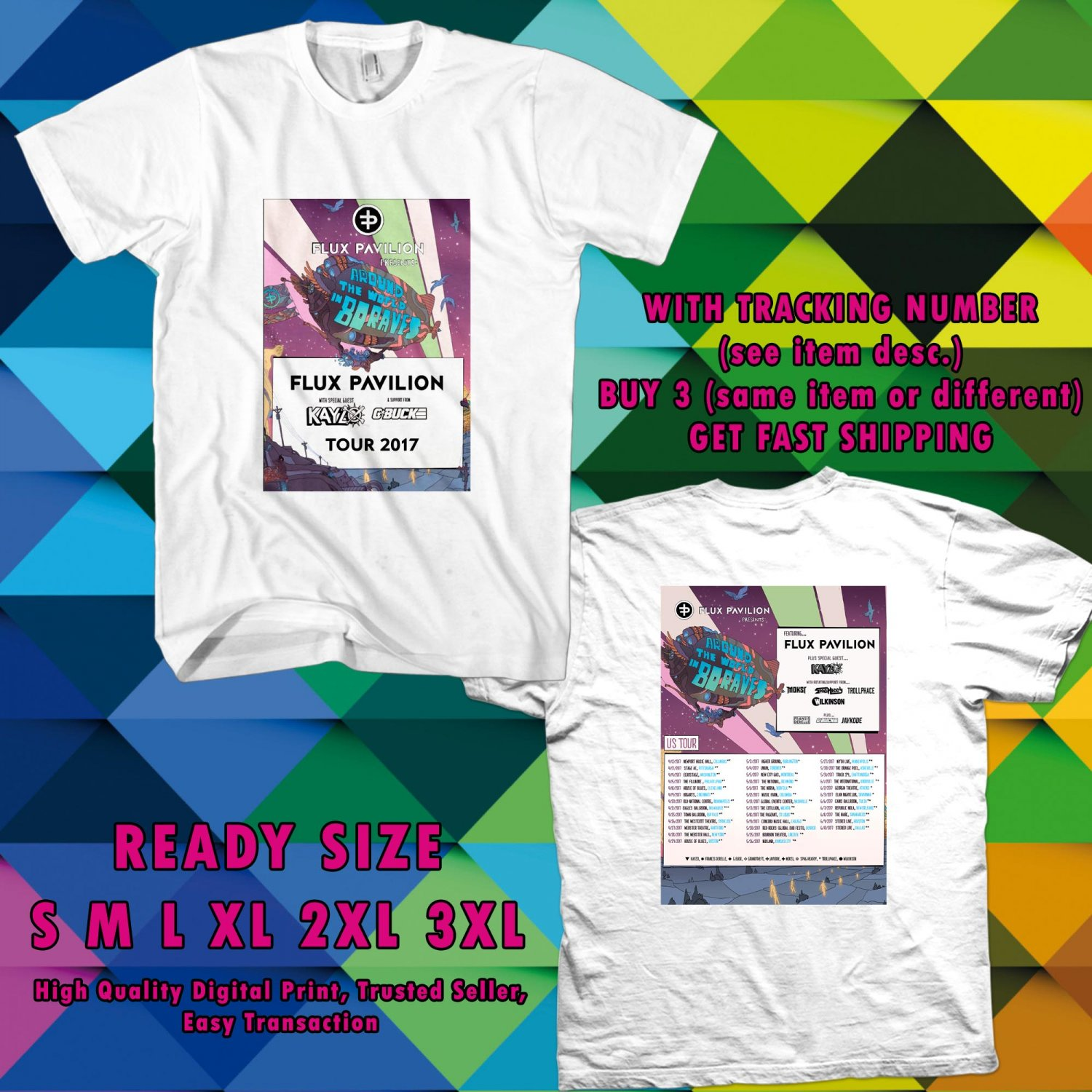 NEW FLUX PAVILION ROUND THE WORLD IN 80 RAVES TOUR 2017 WHITE TEE W DATES DMTR