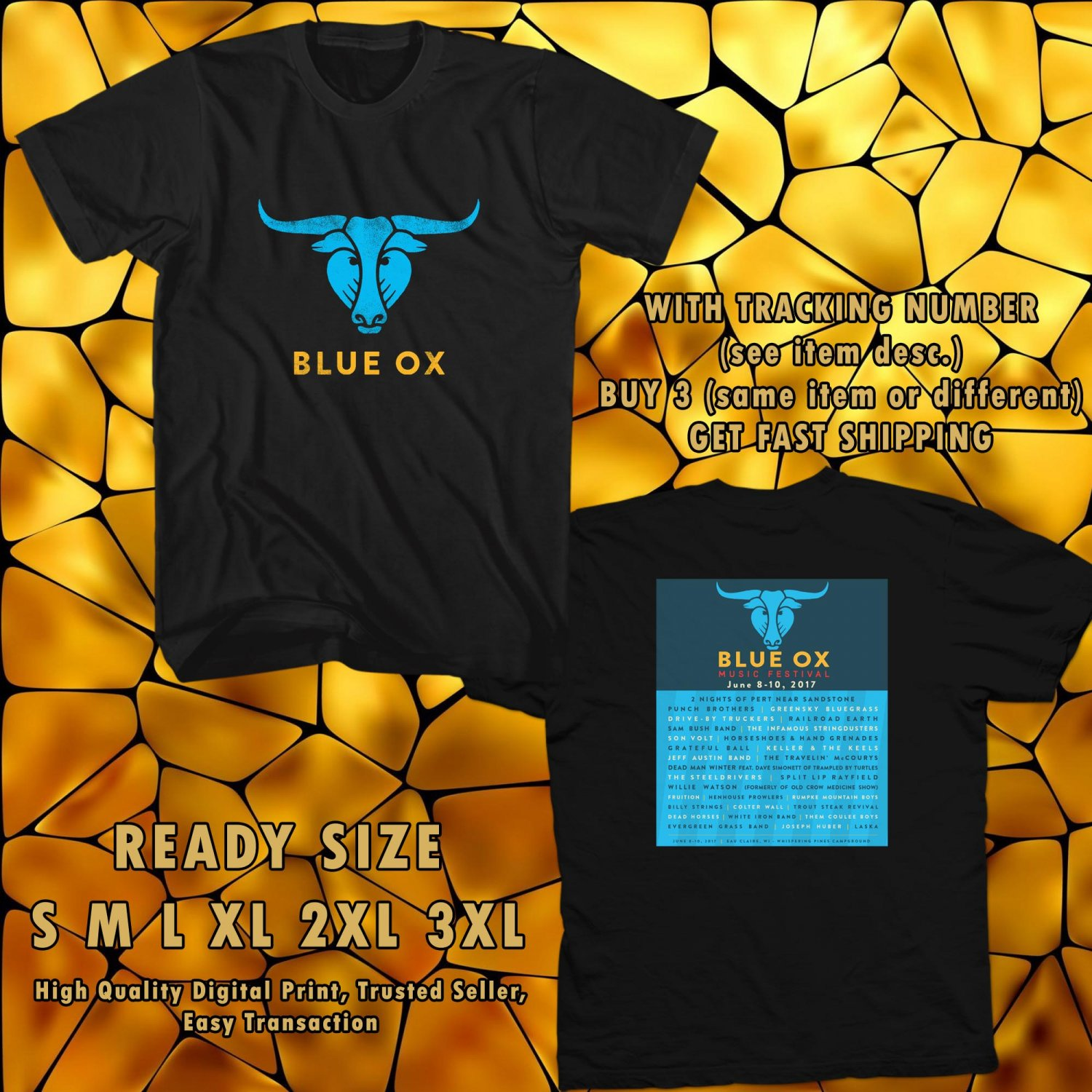 NEW BLUE OX FESTIVAL 2017 black TEE 2 SIDE DMTR