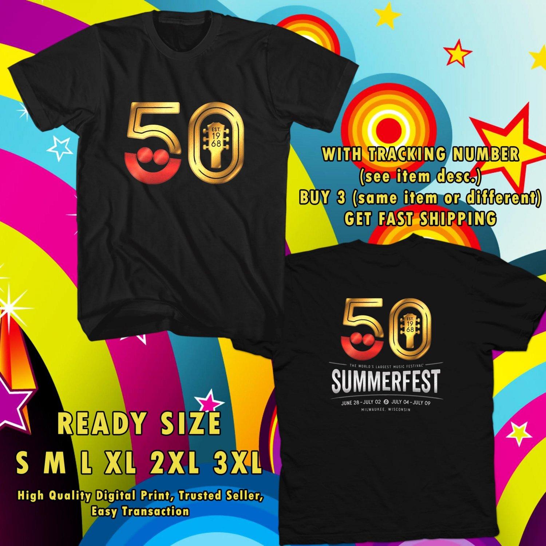 NEW summer festival 50th LARGET WORLDS JUN 2017 black TEE W DATES DMTR