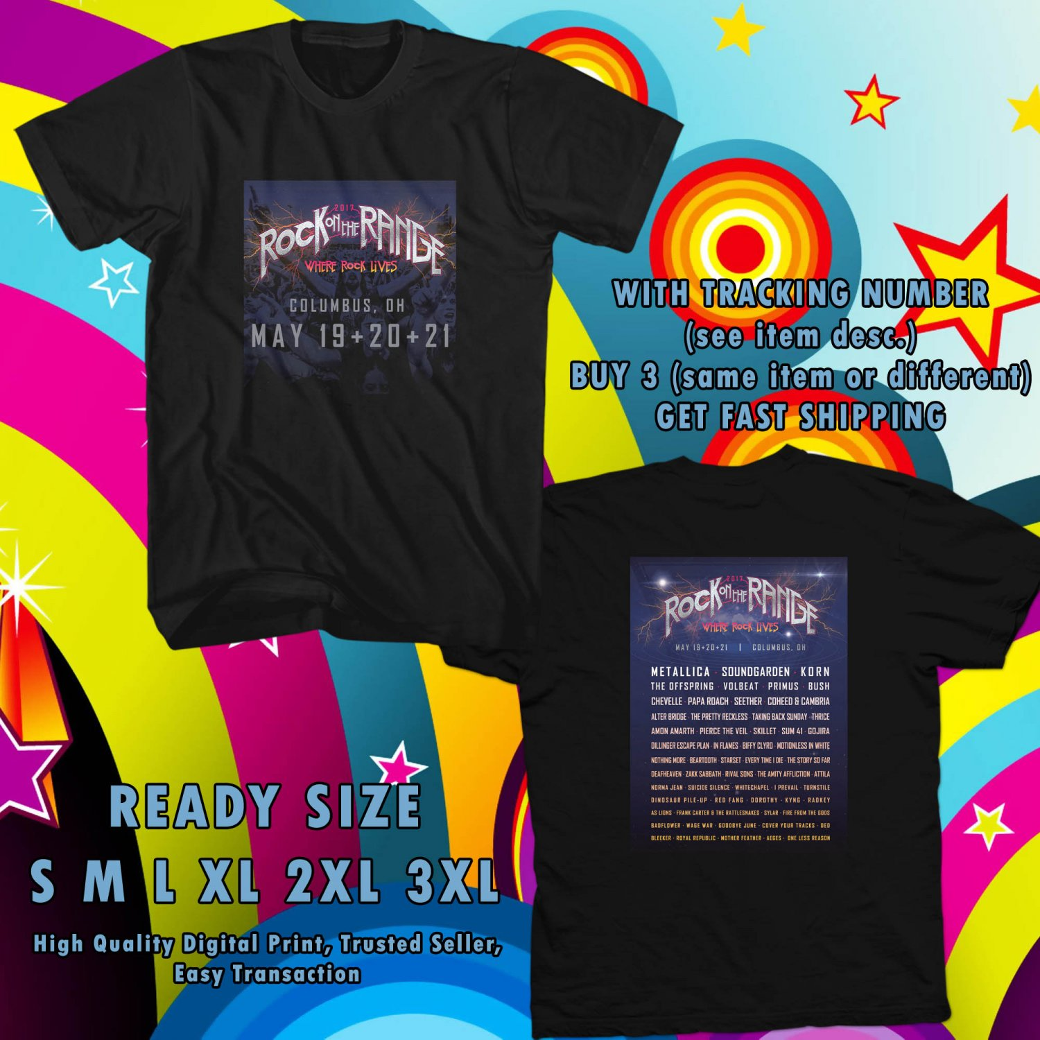 NEW ROCK ON THE RANGE FESTIVAL MAY 2017 black TEE W DATES DMTR