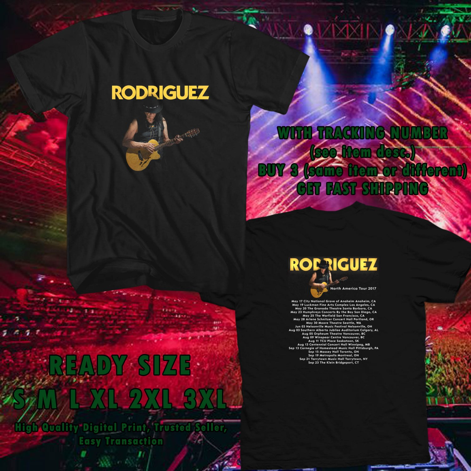 NEW SIXTO RODRIGUEZ N.AMERICA TOUR 2017 black TEE W DATES DMTR 223